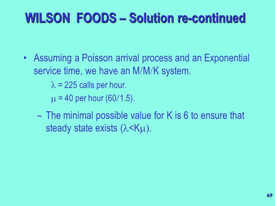 WILSON FOODS – Solution re-continued