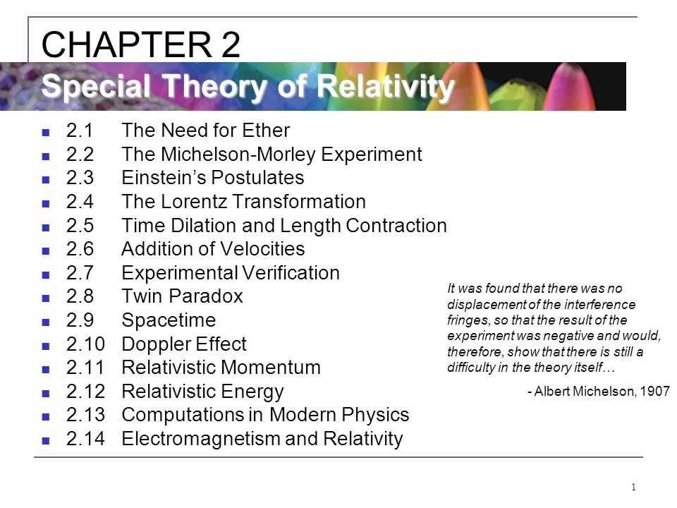 CHAPTER 2 Special Theory of Relativity