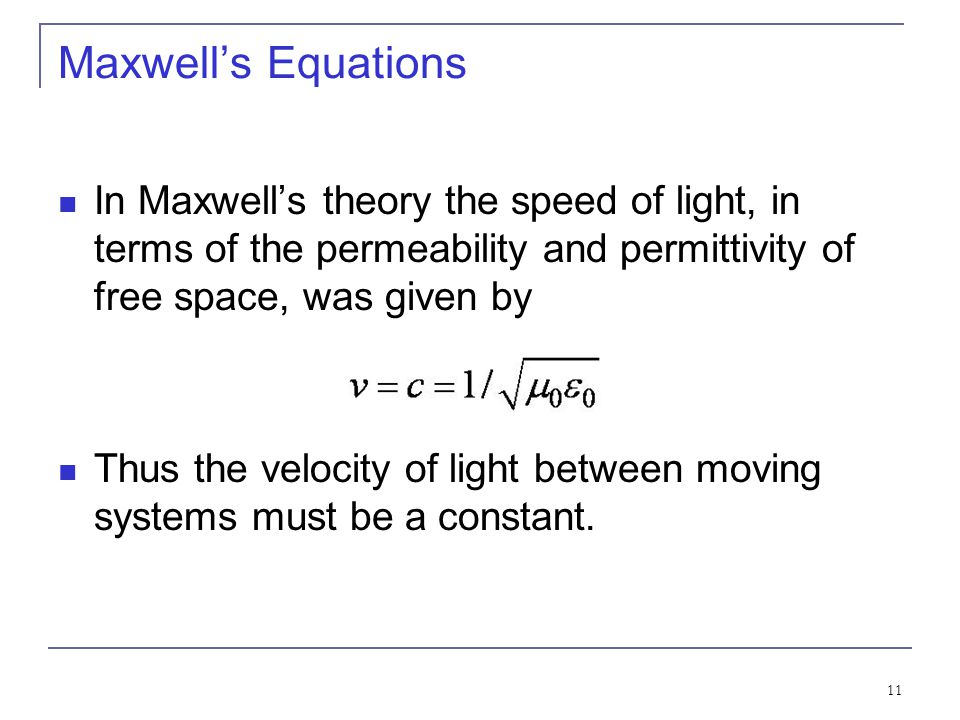 Maxwell's Equations In Maxwell's theory the speed of light, in terms of the permeability and permittivity of free space, was given by.