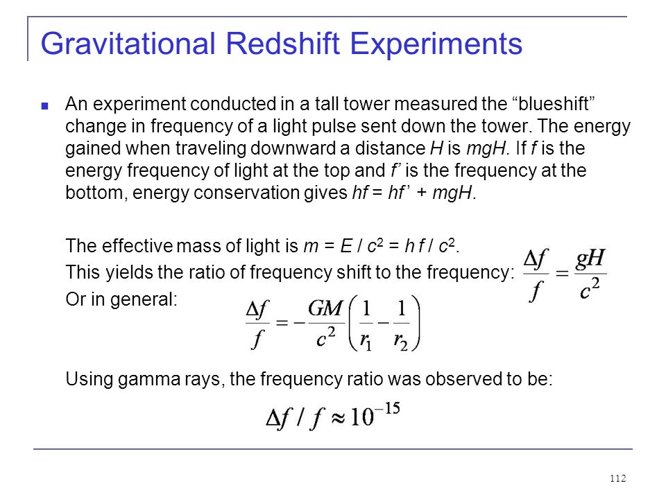 Gravitational Redshift Experiments
