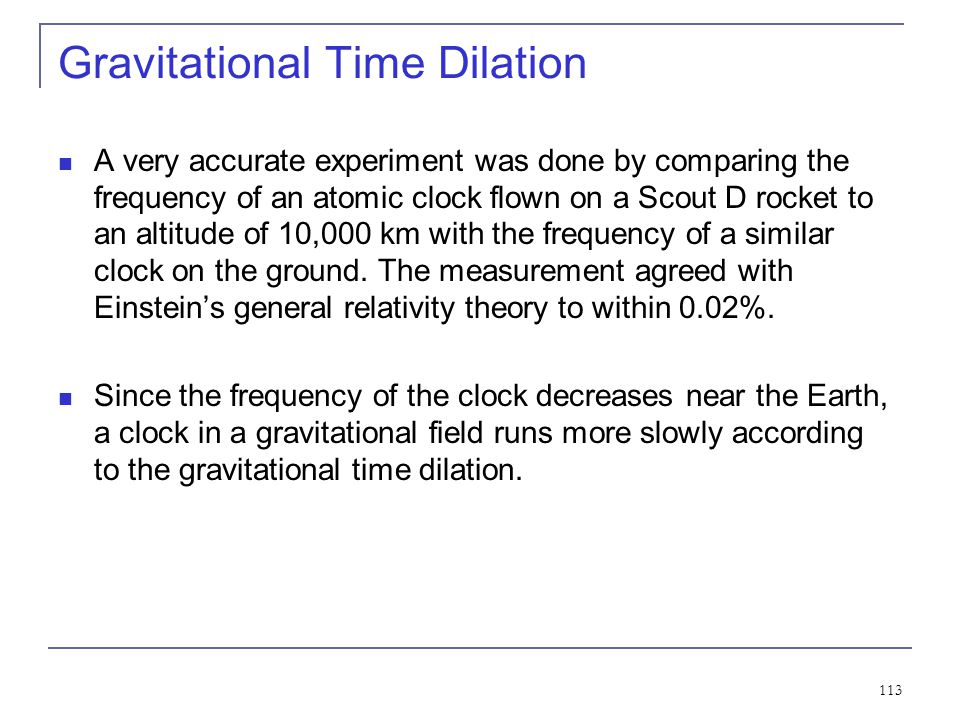 Gravitational Time Dilation