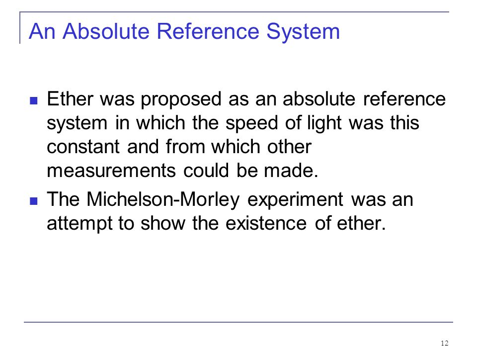 An Absolute Reference System