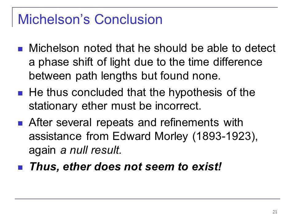 Michelson's Conclusion