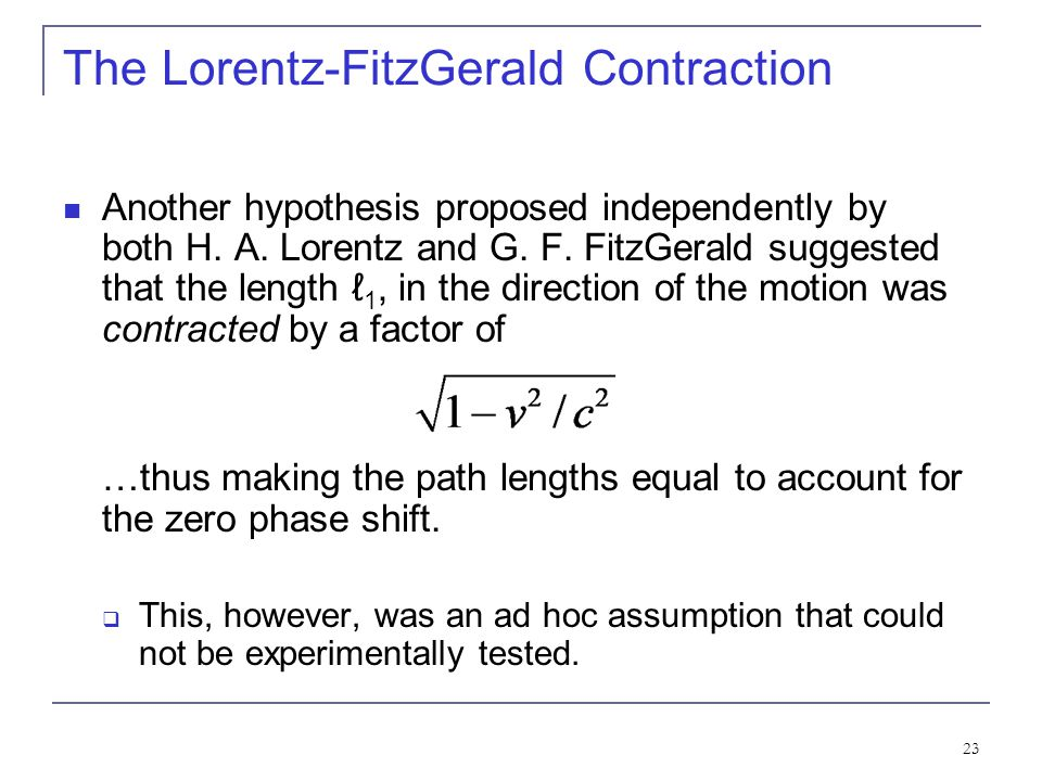 The Lorentz-FitzGerald Contraction