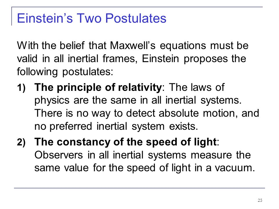 Einstein's Two Postulates