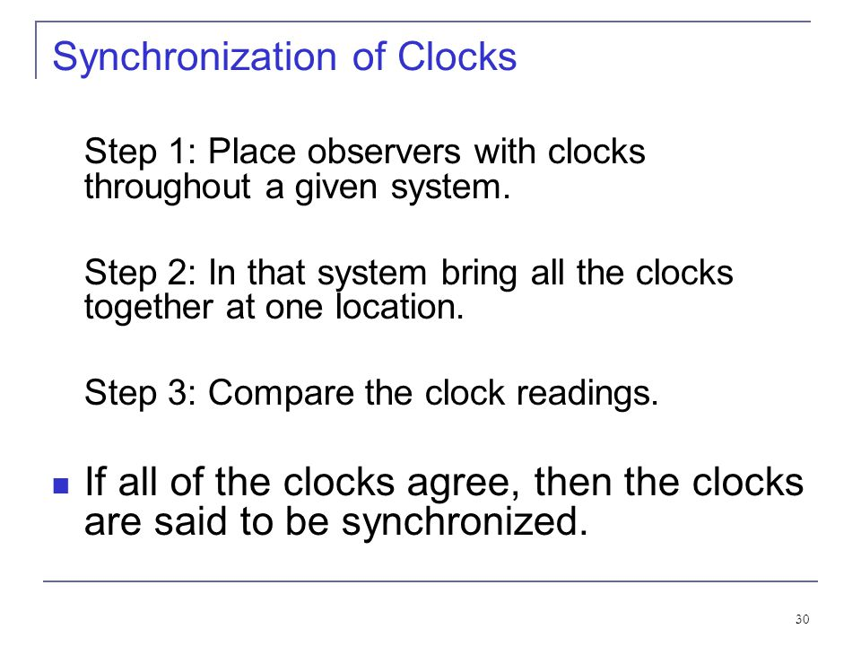 Synchronization of Clocks