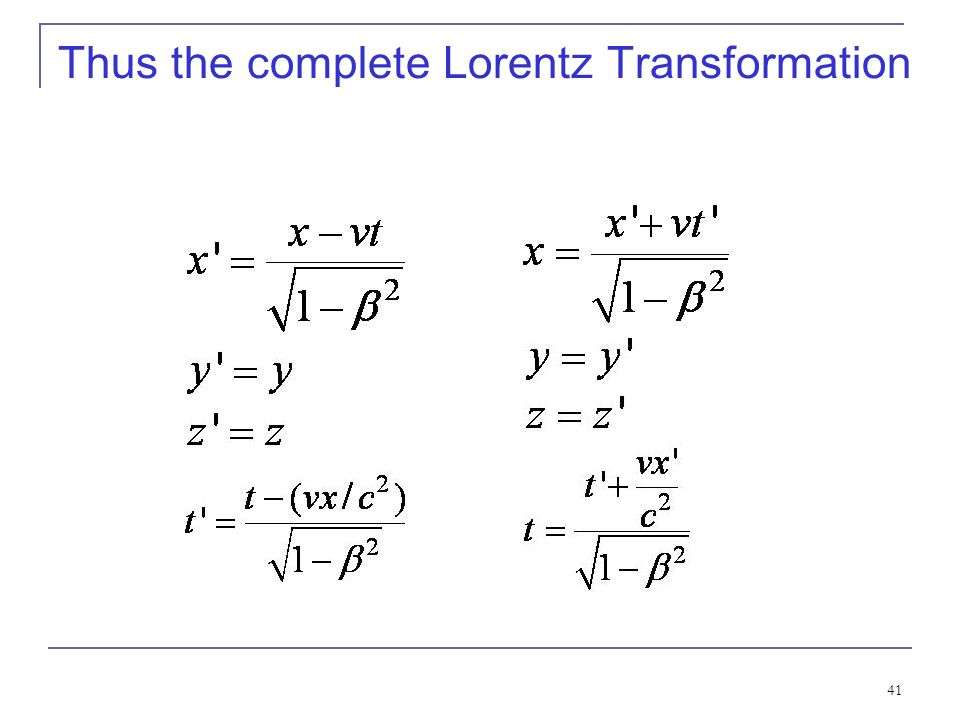 Thus the complete Lorentz Transformation
