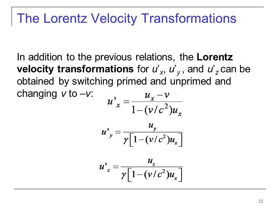 The Lorentz Velocity Transformations