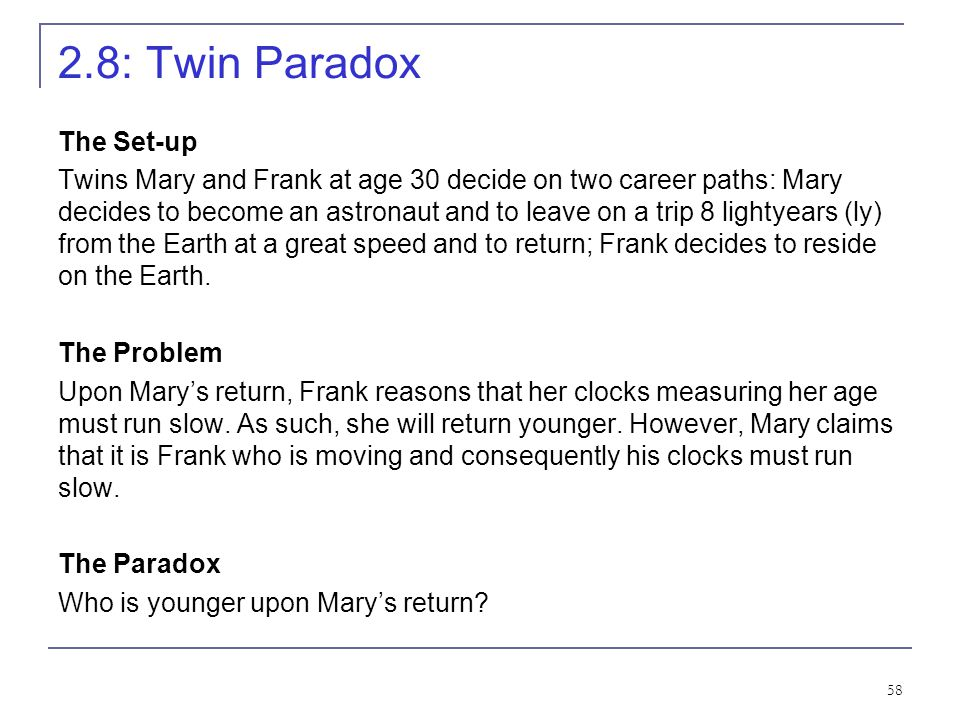 2.8: Twin Paradox The Set-up
