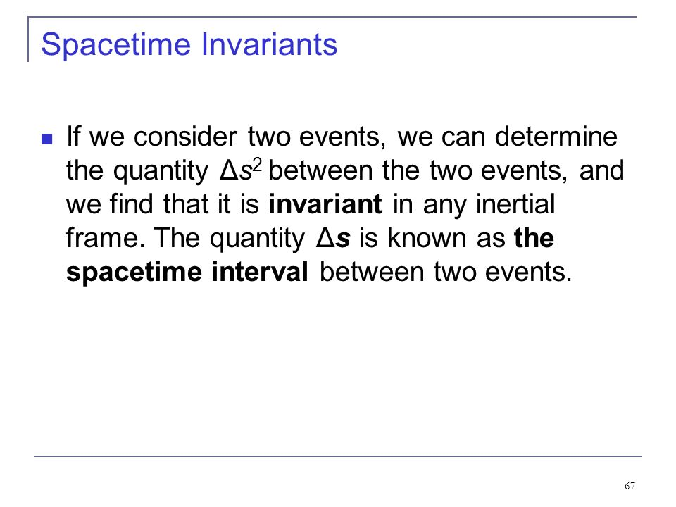 Spacetime Invariants