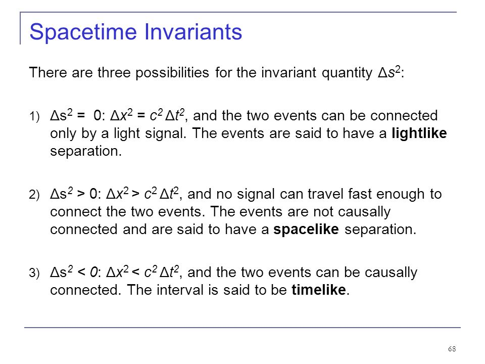 Spacetime Invariants There are three possibilities for the invariant quantity Δs2: