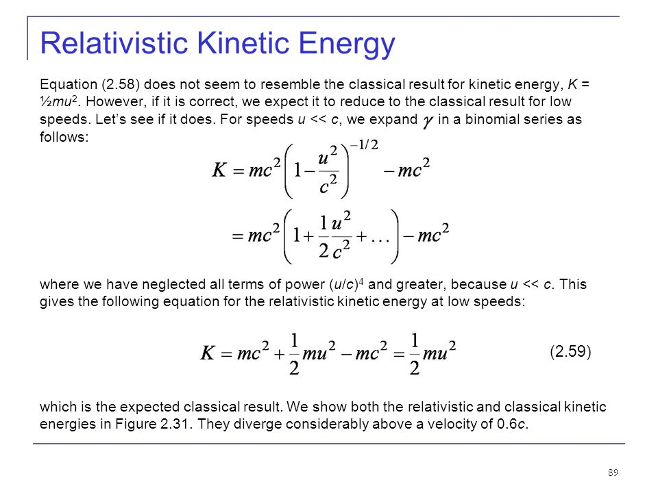 Relativistic Kinetic Energy