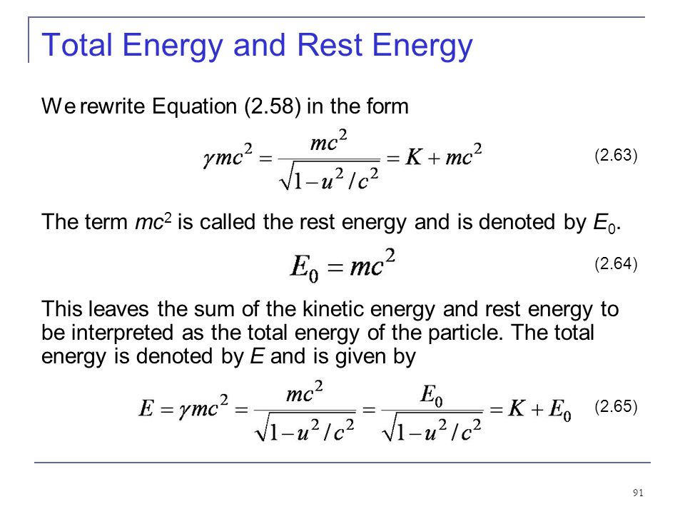Total Energy and Rest Energy