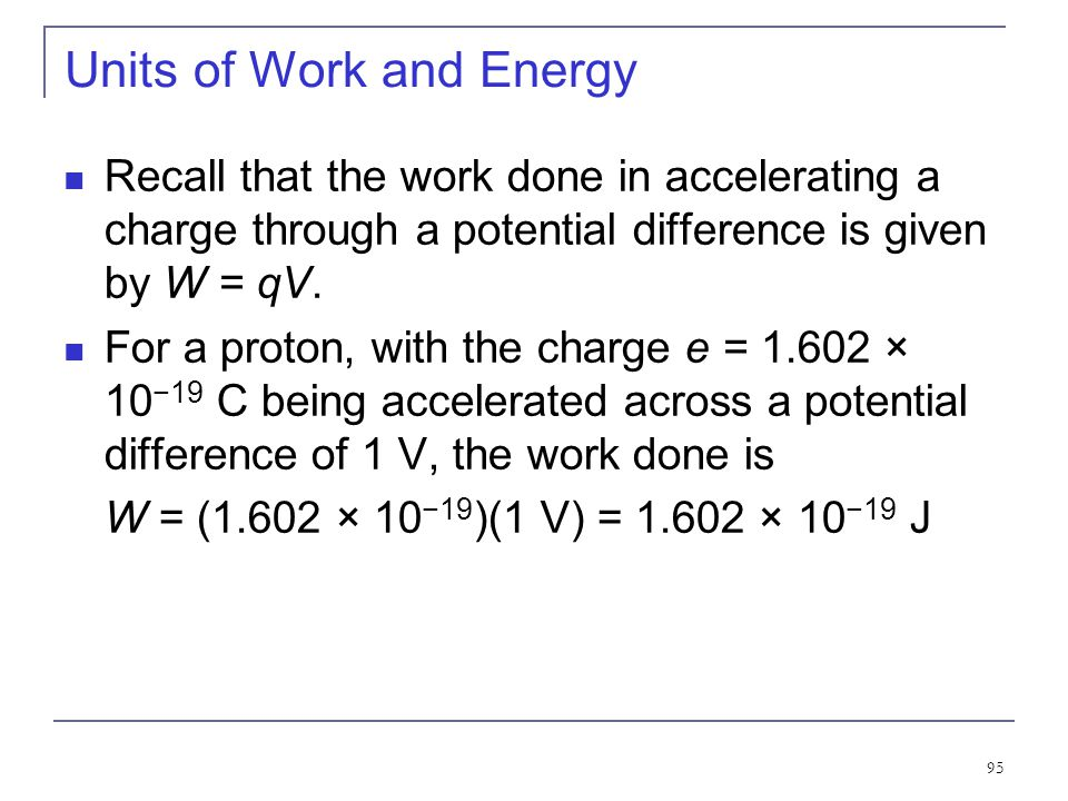 Units of Work and Energy