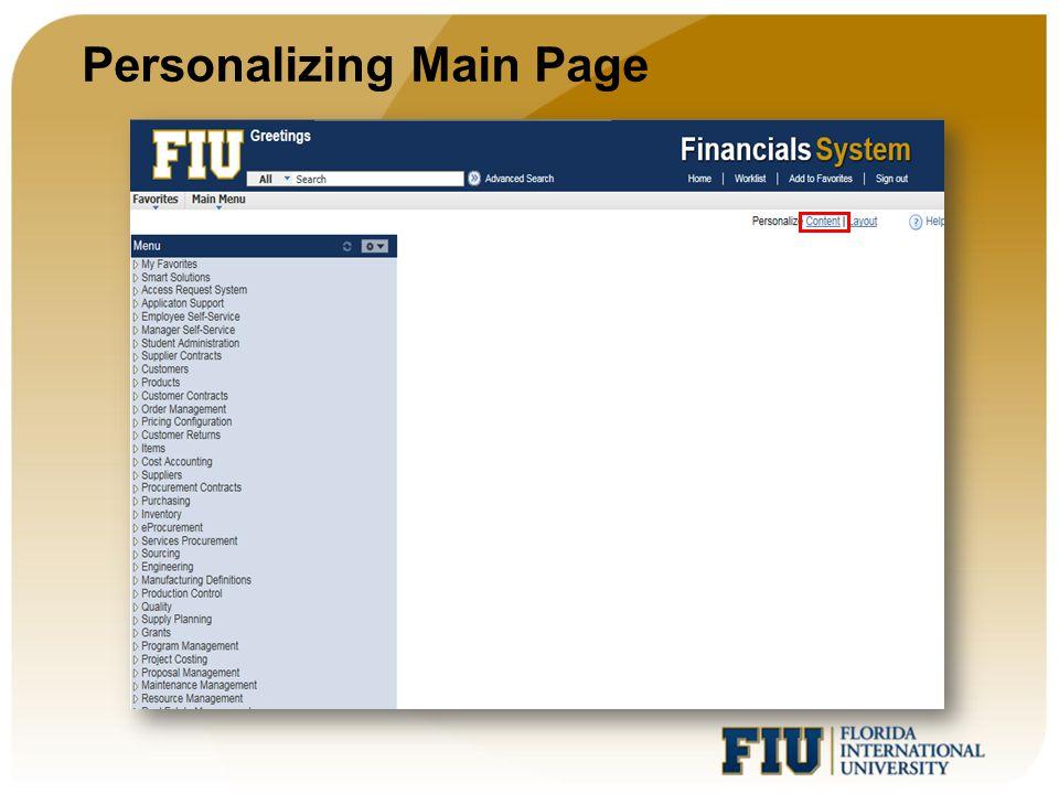 Personalizing Main Page