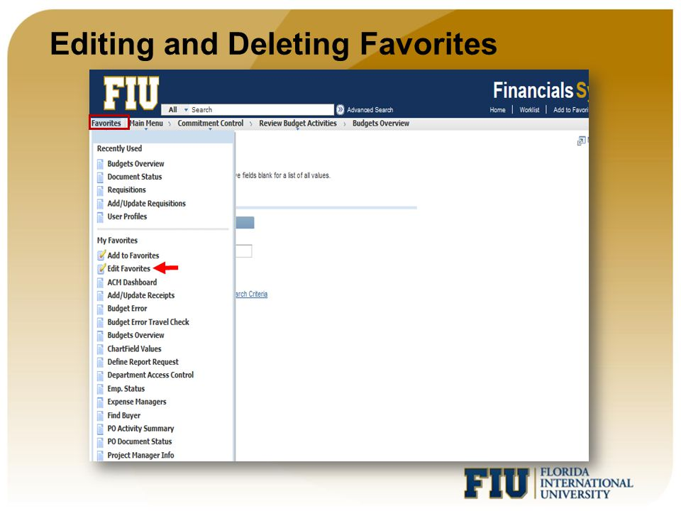 Editing and Deleting Favorites