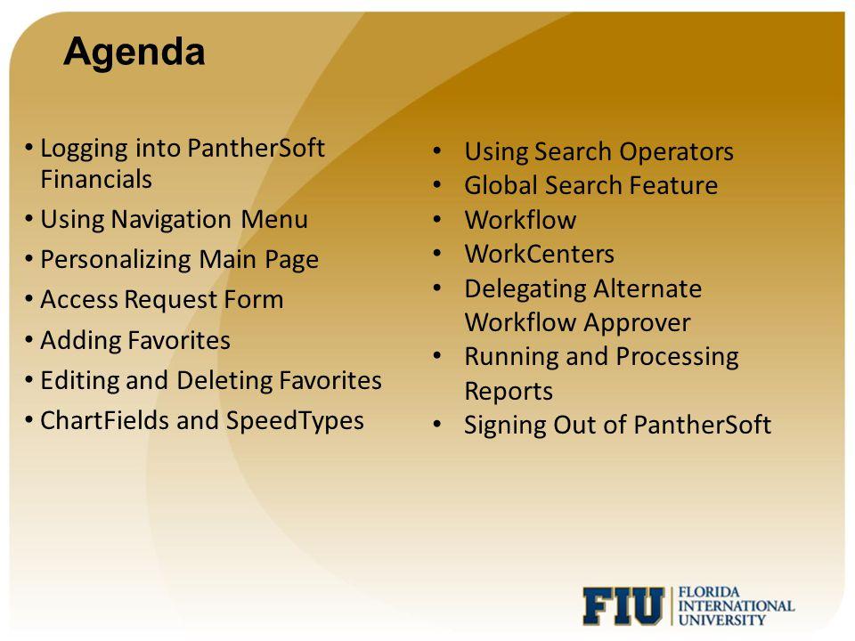 Agenda Logging into PantherSoft Financials Using Navigation Menu