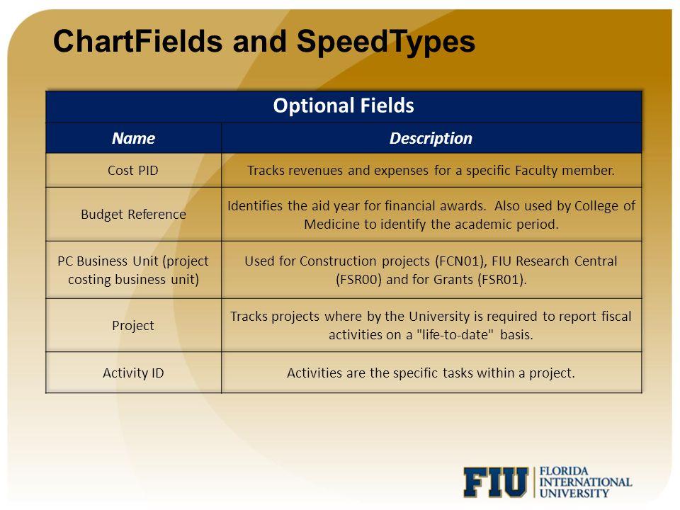 ChartFields and SpeedTypes