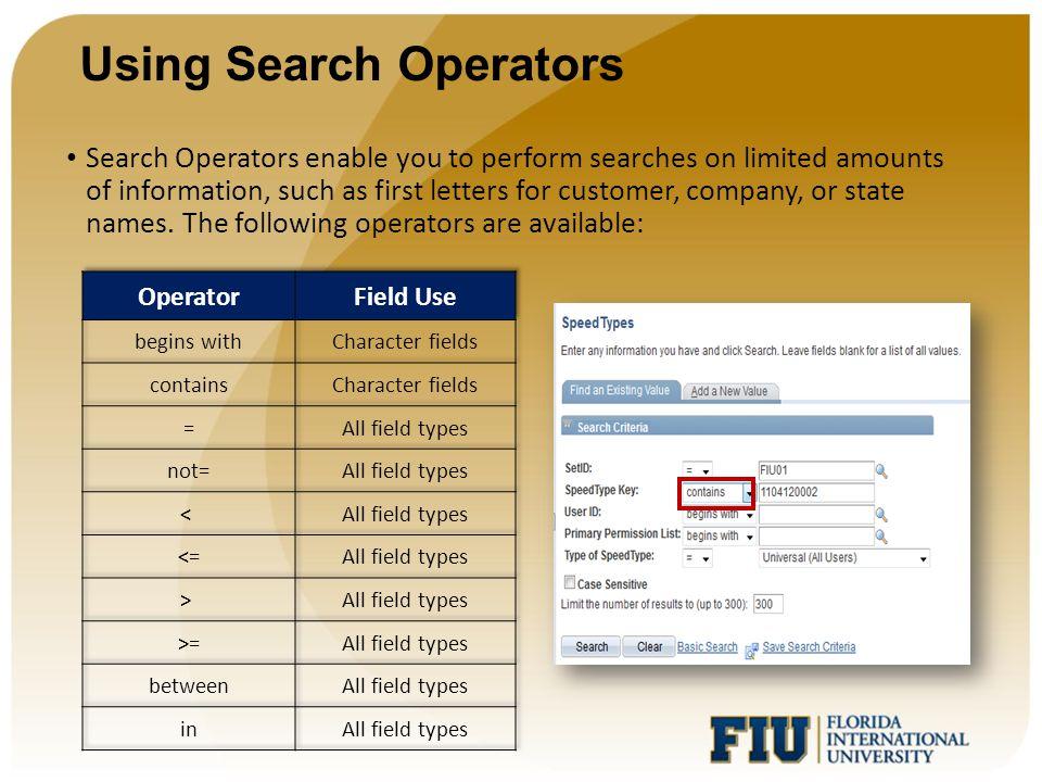 Using Search Operators