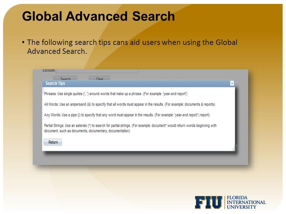 Global Advanced Search