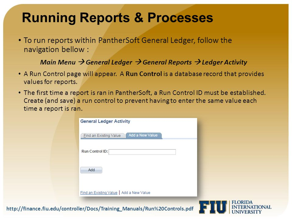 Running Reports & Processes