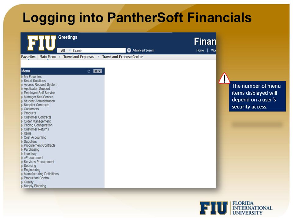 Logging into PantherSoft Financials