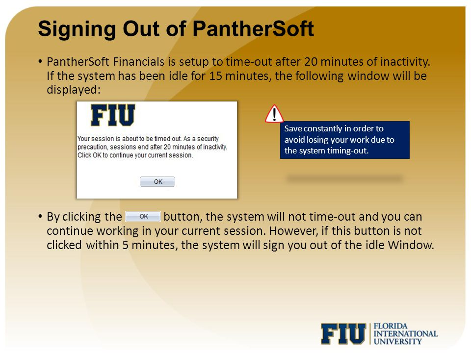 Signing Out of PantherSoft