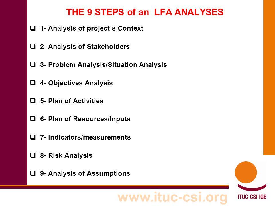 THE 9 STEPS of an LFA ANALYSES