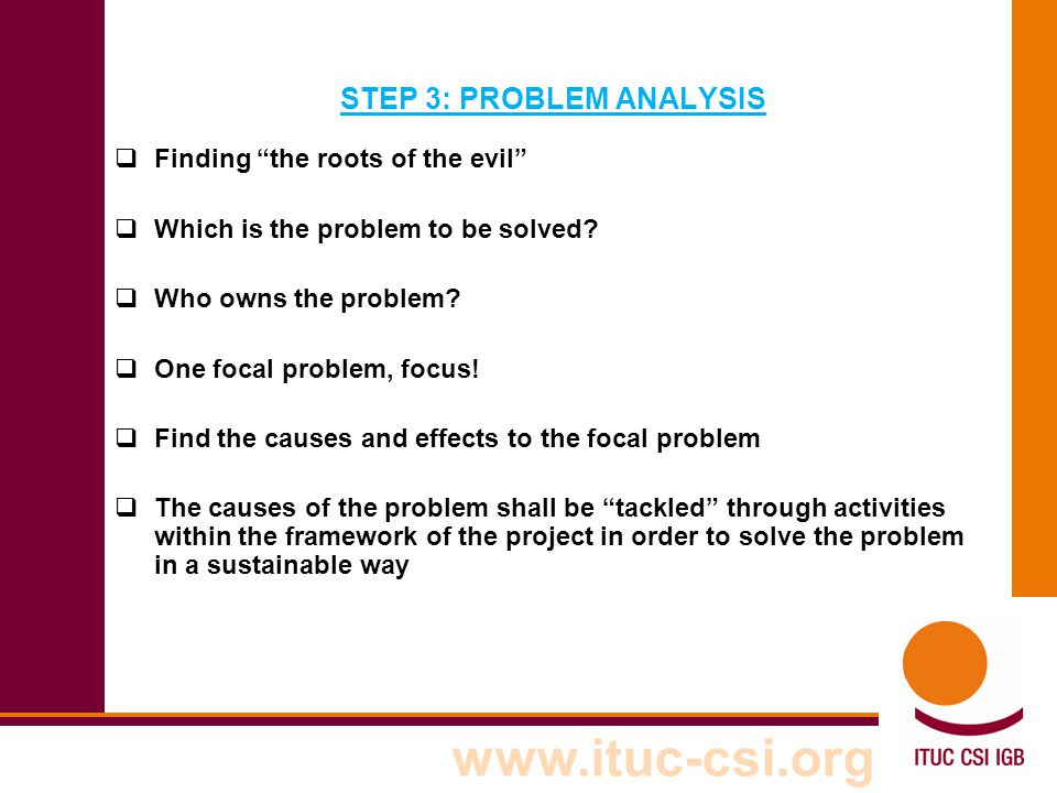 STEP 3: PROBLEM ANALYSIS