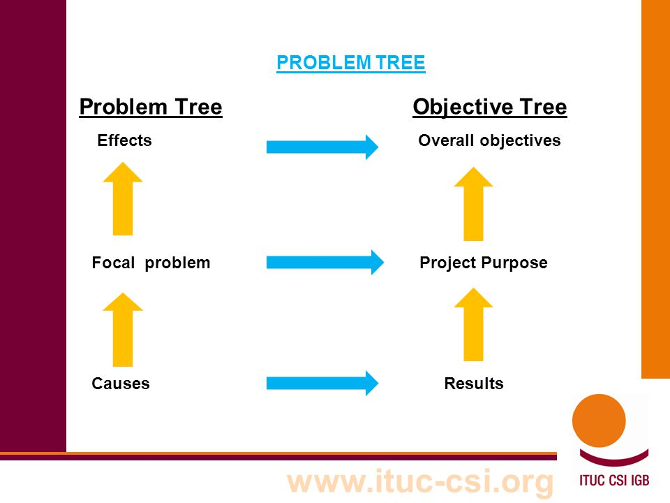 Problem Tree Objective Tree Effects Overall objectives