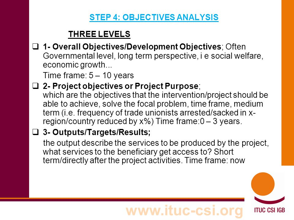 STEP 4: OBJECTIVES ANALYSIS