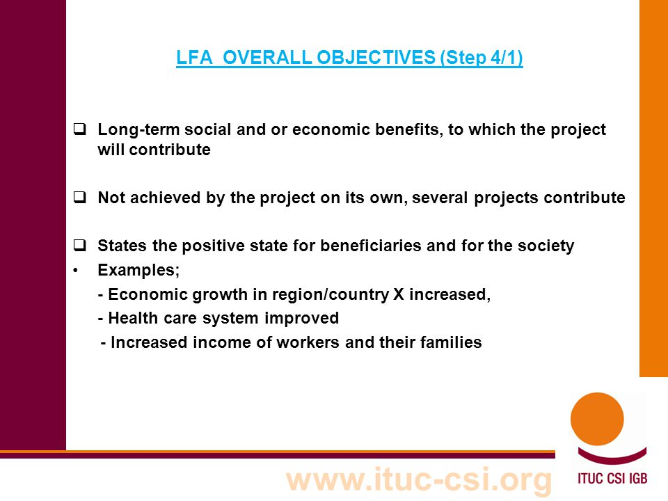 LFA OVERALL OBJECTIVES (Step 4/1)