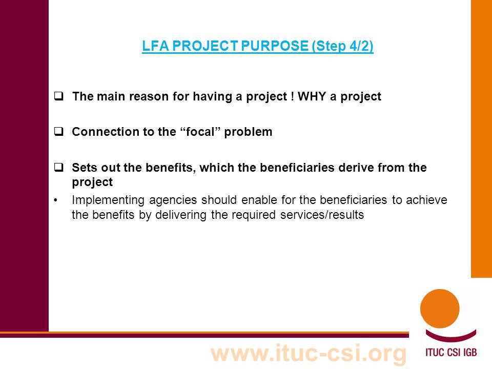 LFA PROJECT PURPOSE (Step 4/2)