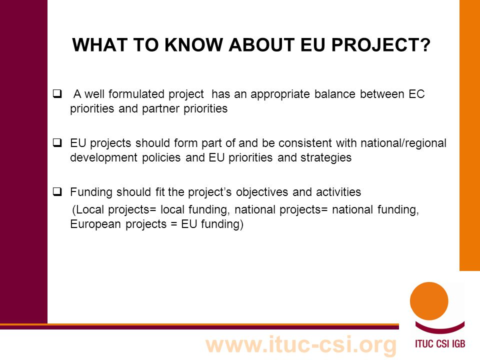 WHAT TO KNOW ABOUT EU PROJECT