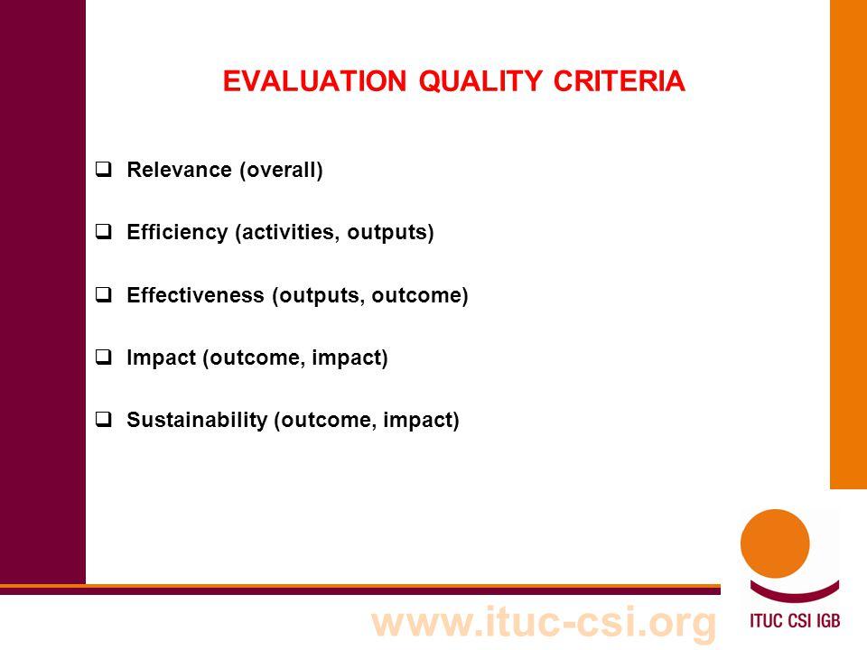 EVALUATION QUALITY CRITERIA