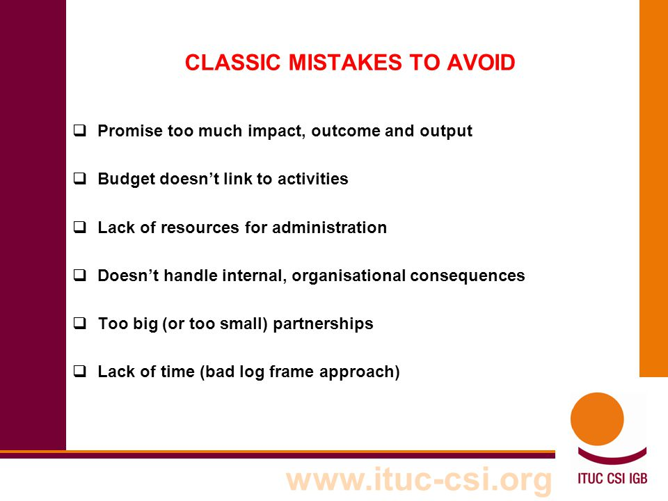 CLASSIC MISTAKES TO AVOID