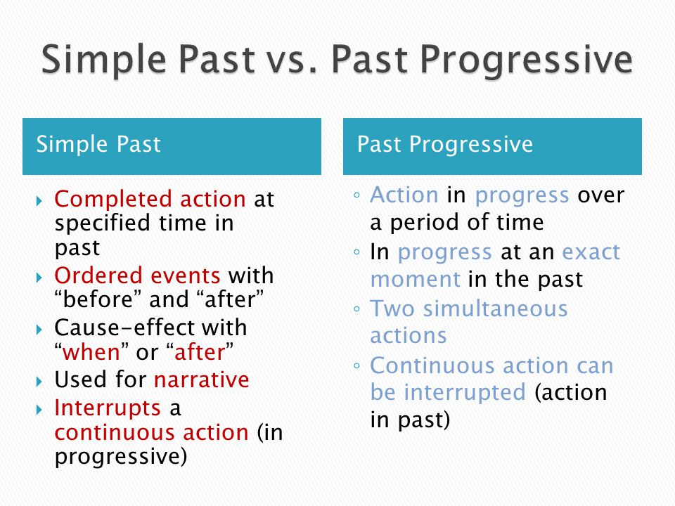 Simple Past vs. Past Progressive