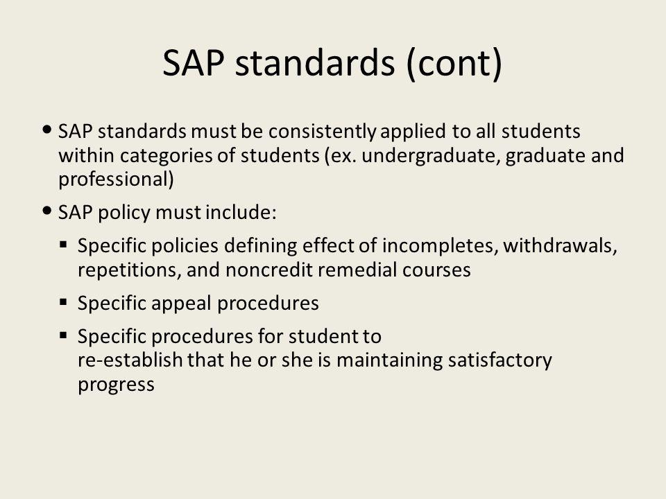 SAP standards (cont)