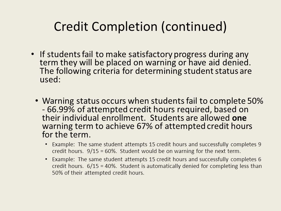 Credit Completion (continued)