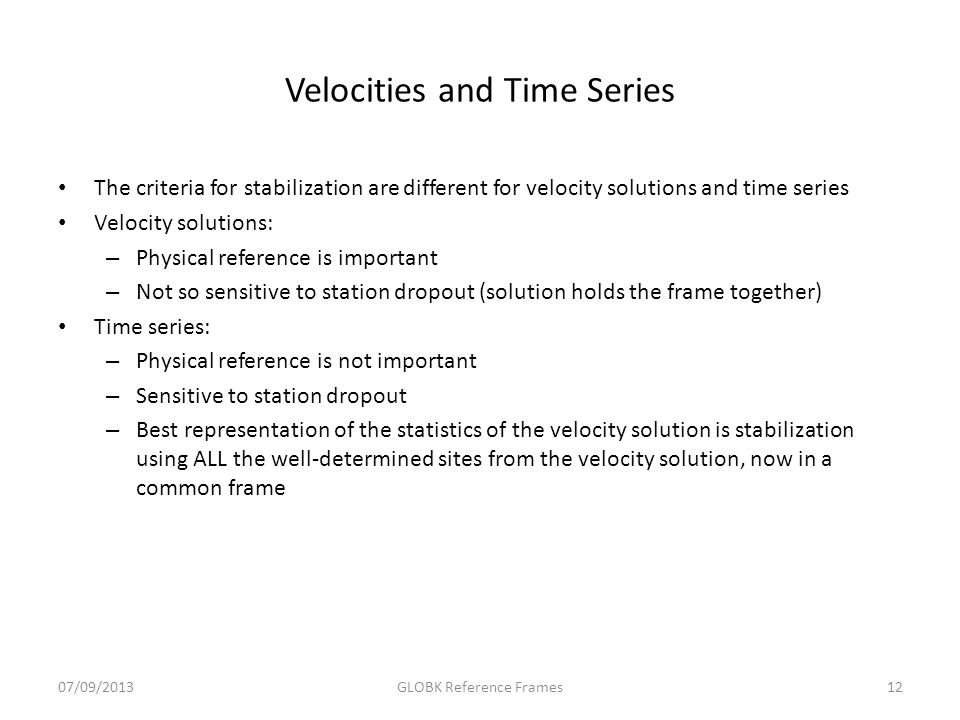 Velocities and Time Series