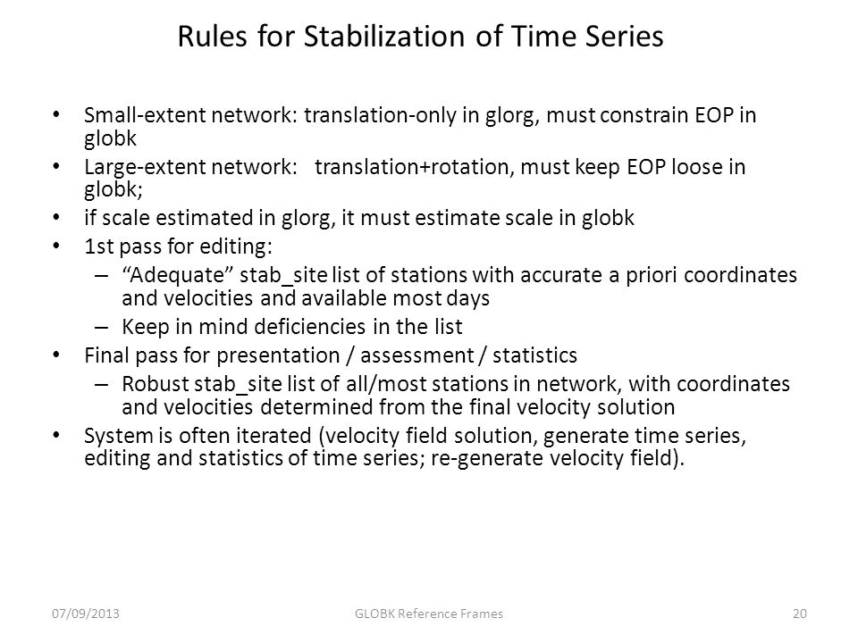 Rules for Stabilization of Time Series