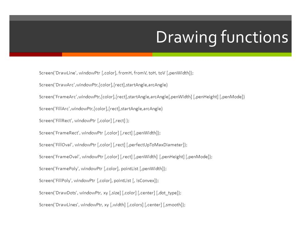 Drawing functions