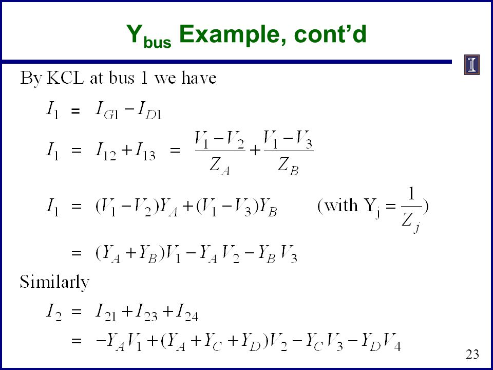 Ybus Example, cont'd =