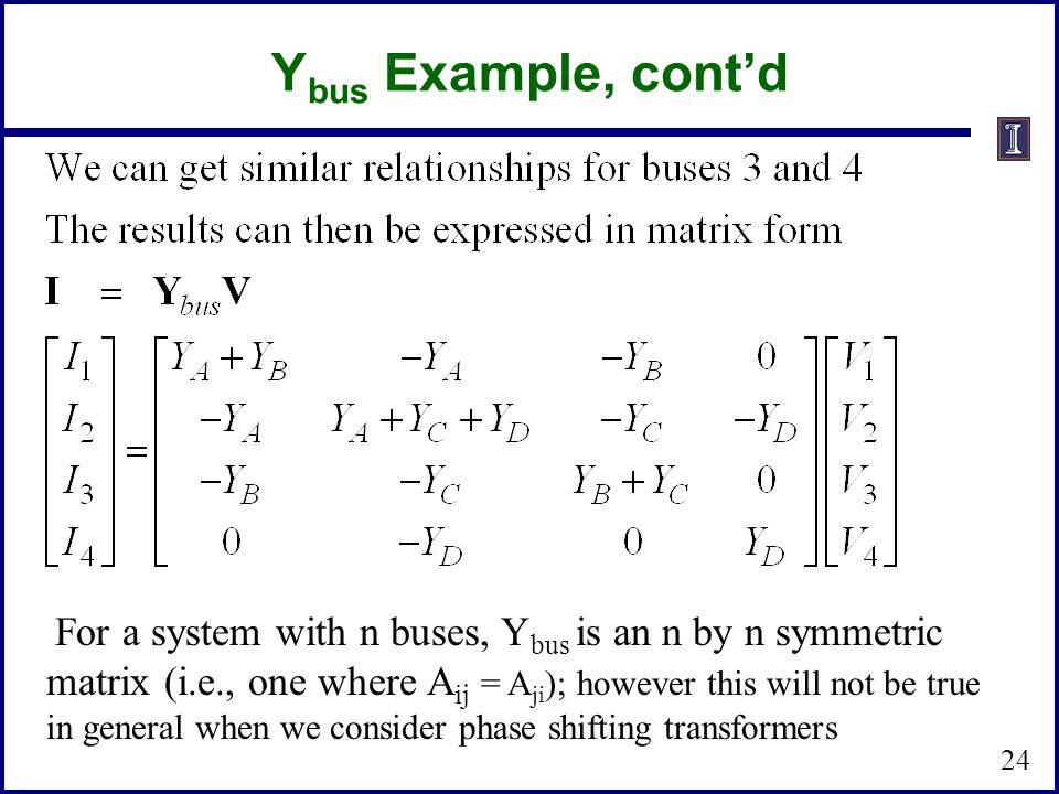 Ybus Example, cont'd