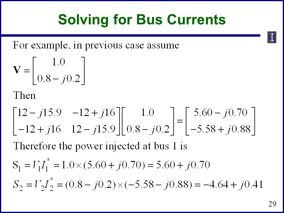 Solving for Bus Currents