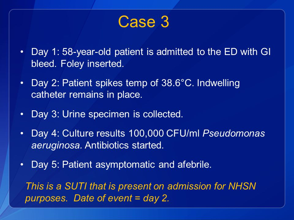 Case 3 Day 1: 58-year-old patient is admitted to the ED with GI bleed. Foley inserted.