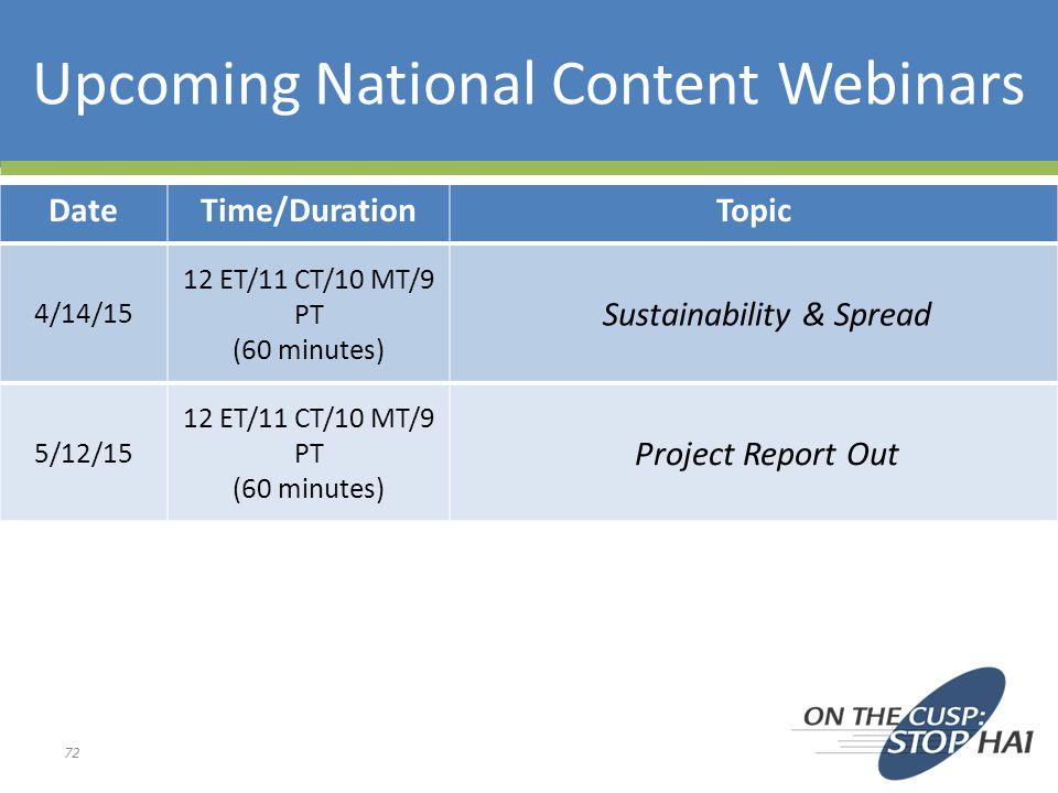 Upcoming National Content Webinars