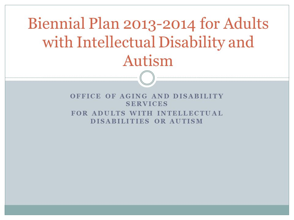 Biennial Plan 2013-2014 for Adults with Intellectual Disability and Autism