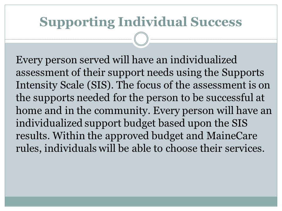 Supporting Individual Success