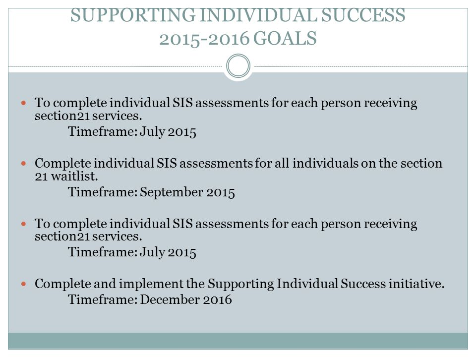 SUPPORTING INDIVIDUAL SUCCESS 2015-2016 GOALS